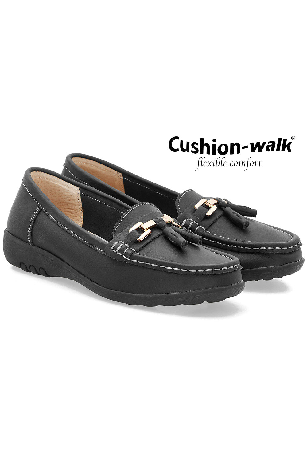 Cushion Walk Leather Moccasin with Gold