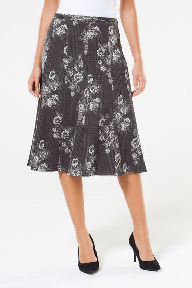 Floral Check Ponte Panelled Skirt
