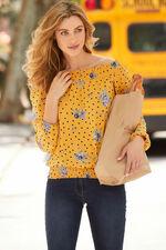 Spot And Floral Print Bardot Shirred Hem Top