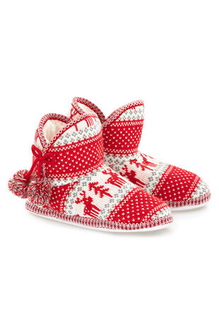 Fairisle Red Bootie Slipper