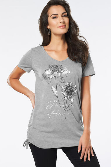 Longline T-Shirt with Foil Print