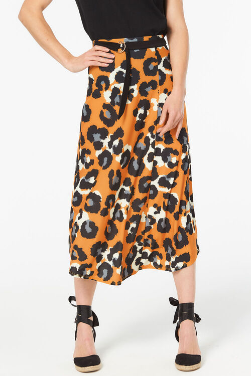 Gold Leopard Skirt With Tie