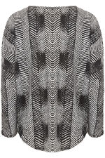 Stella Morgan Herringbone Print with Zip Soft Touch Sweater