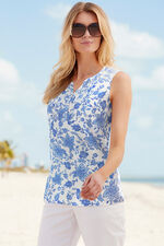 Sleeveless Printed Linen Blend Top With Tie Detail
