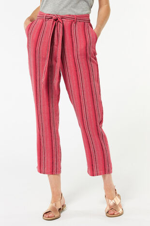 Red Stripe Linen Culotte