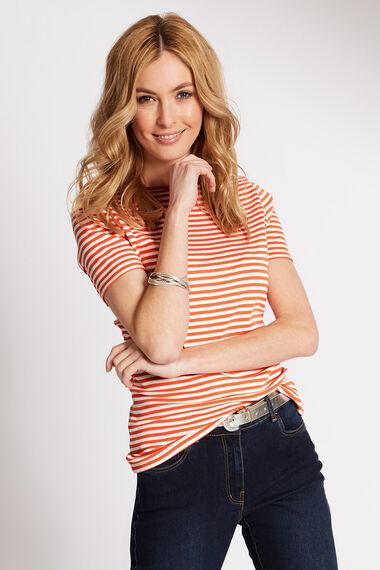 Short Sleeve Boat Neck Stripe T-Shirt