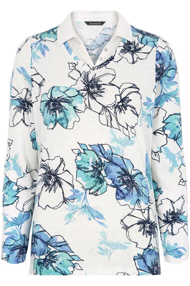 Floral Print Textured Mock 2 in 1 Sweater