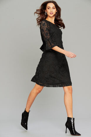 Salvari Lace Dress With Ruffle Sleeve