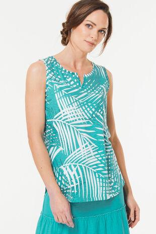 Leaf Print Notch Neck Vest