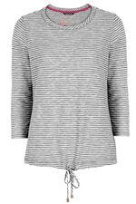 Textured Stripe Sweat with Tie Hem