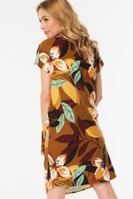 Button Shoulder Floral Print Linen Blend Tunic