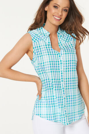Longline Sleeveless Button Through Check Shirt
