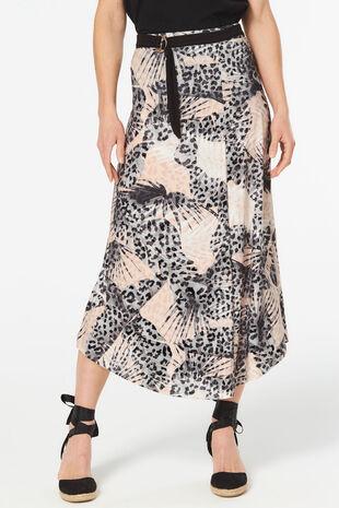 Tie Waist Belt Leopard and Palm Print Skirt