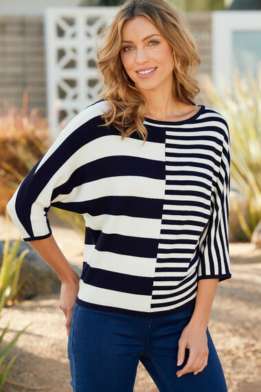 Striped Bat Wing Sleeve Jumper