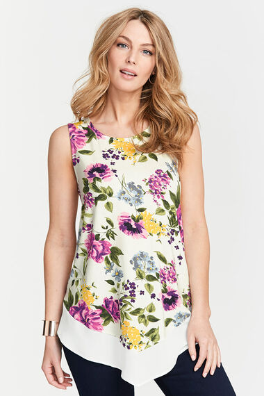 Sleeveless Printed Top With Chiffon Hem