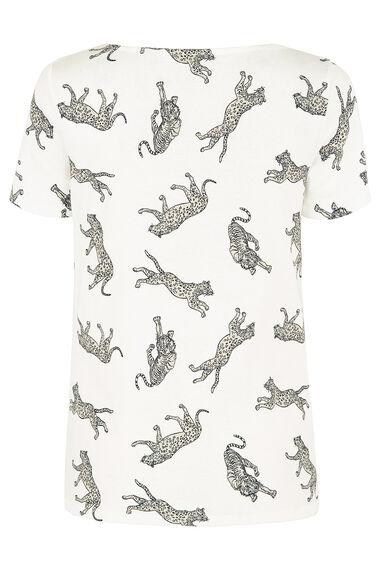 Leopard Print Boat Neck T-Shirt