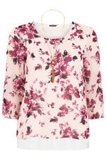 Floral Printed Double Layer Top With Necklace