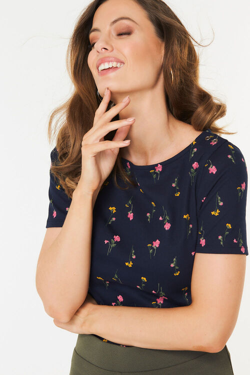 Boat Neck Floral T-Shirt