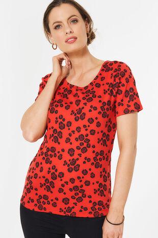 Leopard Print Scoop Neck T-Shirt