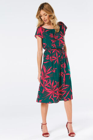 Palm Print Bardot Dress