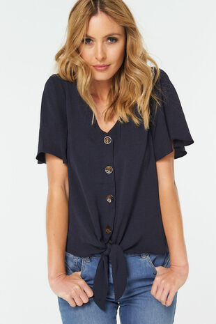 Tie Front Button Through Blouse