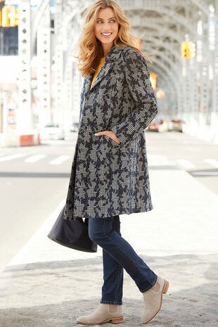 Floral and Check Smart Coat