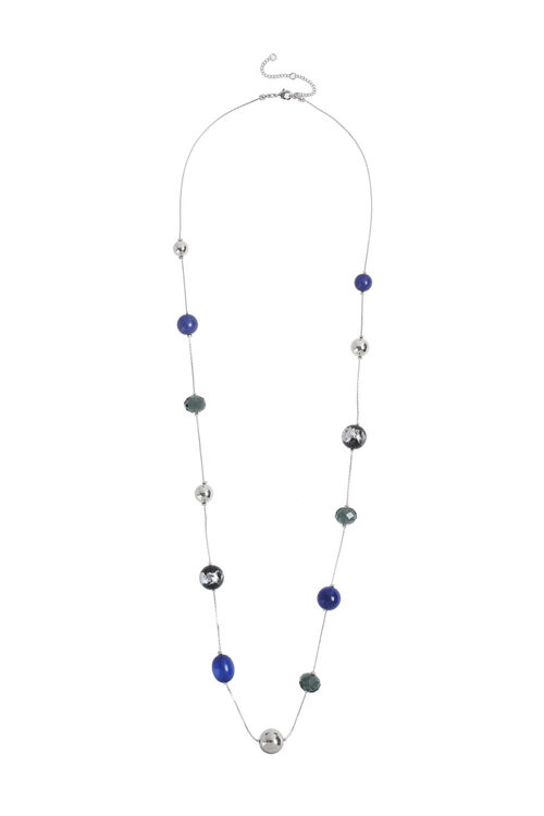 Muse Long Blue Bead Station Necklace