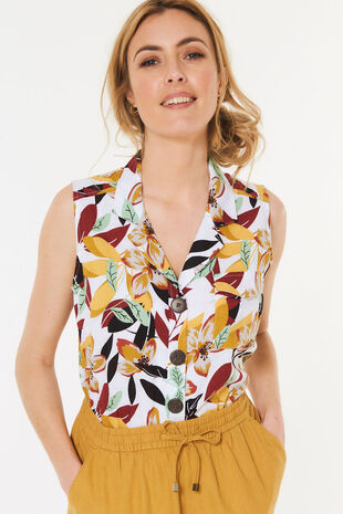 Sleeveless Jungle Print Linen Blend Shirt