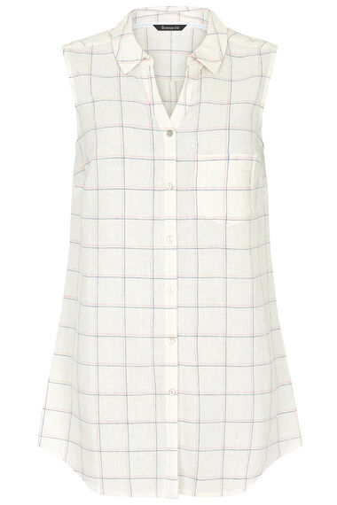 Grid Check Print Linen Blend Sleeveless Shirt
