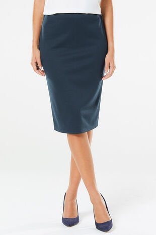 Dogstooth Ponte Pencil Skirt