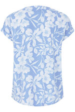 Linear Floral Linen Blend Shell Top