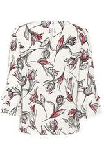 Tulip Print Flute Sleeve Blouse