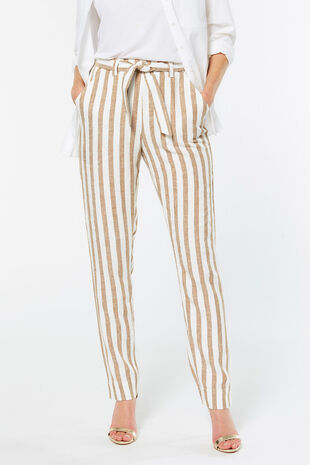 Stripe Tapered Linen Blend Trouser