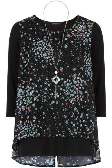 Ditsy Print Double Layer Top With Necklace