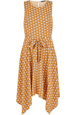 Yellow Tile Print Hanky Hem Dress