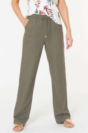 Wide Leg Linen Blend Trouser