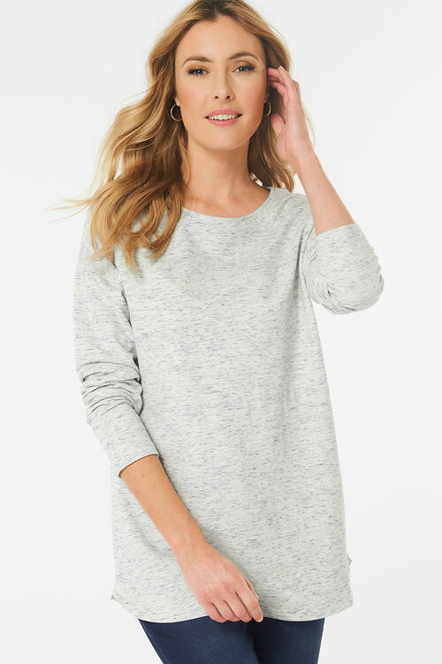 Space Dye Curve Hem Sweat