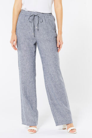 Stripe Wide Leg Linen Blend Trouser