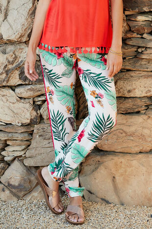 Isla & Rose Tropical Print Pull On Trouser