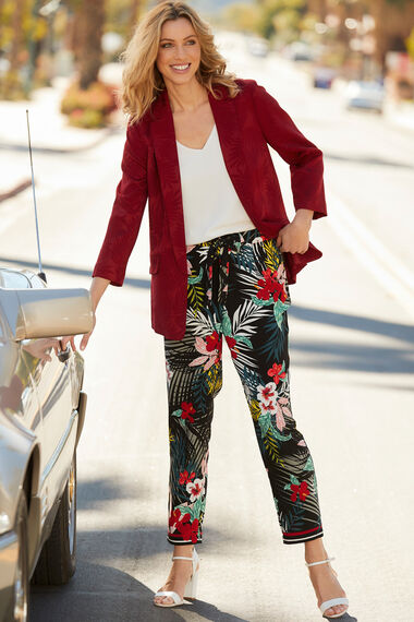Tropical Print Crepe Trouser