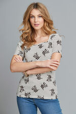 Square Neck Linear Print T-Shirt
