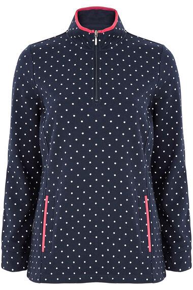 Spot Print Funnel Neck Sweater