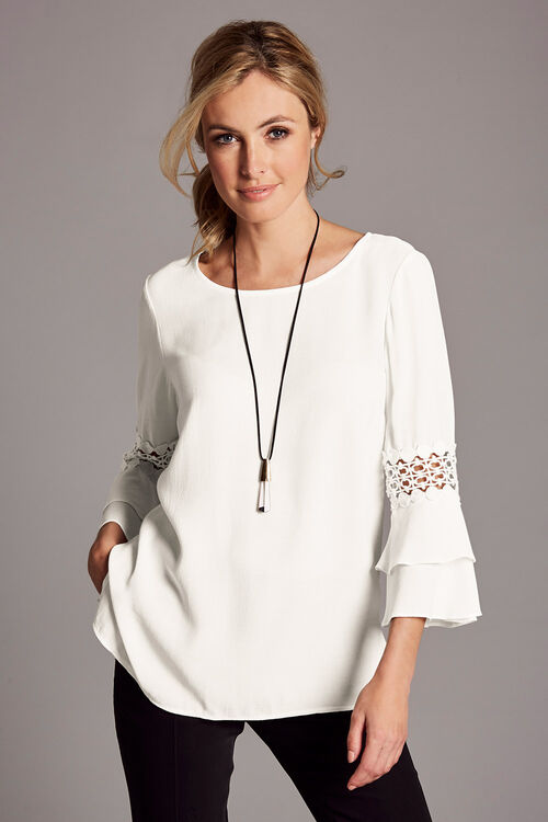 Plain Flute Sleeve Blouse With Lace Trim