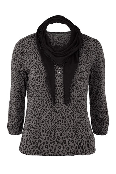 Animal Print Gypsy Top with Scarf