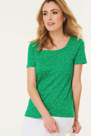 Square Neck Polka Dot T-Shirt
