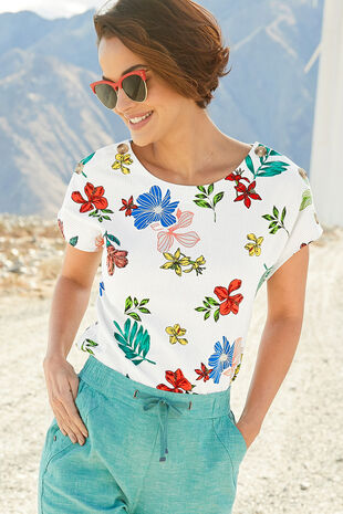 Short Sleeve Floral and Stripe Linen Blend Shell Top