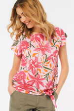 Floral Print Tie Side T-Shirt