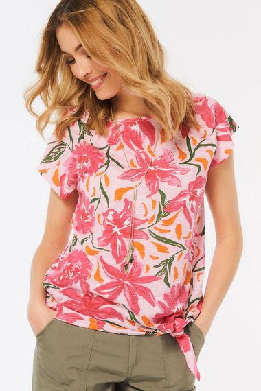 Floral Print Tie Side T-Shirt