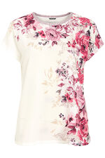 Printed Shell Top With Metallic Neckline
