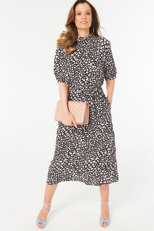 4537733f733 Animal Print Roll Neck Midi Dress